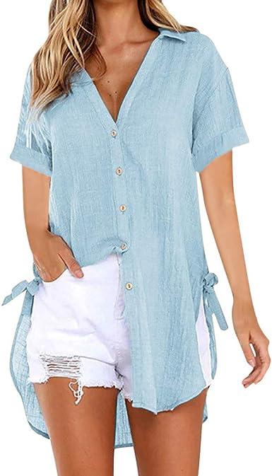 Yvelands Camisa Larga para Mujer Vestido de algodón para ...