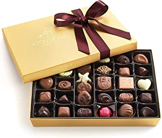 Godiva Chocolatier Assorted Chocolate Gold Gift Box with Wine Ribbon, Great for Gifting, Premium Chocolates, Birthday Chocolate, Gifts for Her, 36 pc