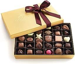 Godiva Chocolatier Assorted Chocolate Gold Gift Box with Wine Ribbon, Great for Gifting, Premium Chocolates, Birthday Chocolate, Gifts for Her, 36 Count