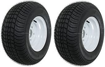 eCustomRim 2-Pack Trailer Tires Rims 20.5 8 10 205/65-10 20.5X8.0-10 10 in. 5 Lug E White