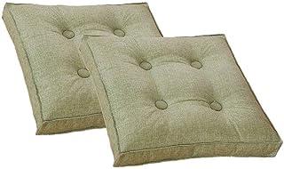 PLEASUR Cojín de Asiento de Mimbre Cojines para Muebles de Patio Cojín de Piso sólido para el hogar Juego de 2 40X40 cm (Verde Hierba), Verde Hierba, 40x40 cm