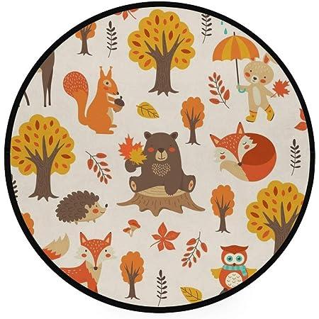 Orediy Tapis rond en mousse souple pour chambre d'enfant - 92 cm - Motif animaux de la forêt