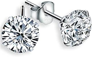 925 Sterling Silver Crystals from Swarovski White Brilliant Cut Round Stud Earrings 6 mm for Women and Girls
