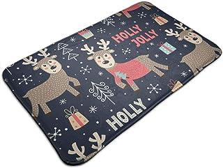 Merry Christmas Deer Non Slip Bath Rugs Comfortable Floor Mat Super Soft and Absorbent Bathroom Rug Decorative Doormat Thi...