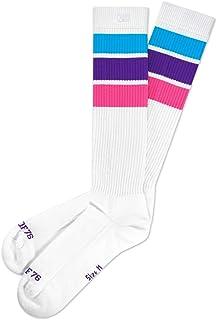 Spirit of 76, Unicorn Hi - Calcetines altos para patinaje con rayas, color blanco, turquesa, morado y rosa