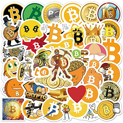 DSSK 50Pcs Personalized Sticker Bitcoin Graffiti Sticker Luggage Car Computer Water Cup Mobile Phone Waterproof Removable Sticker