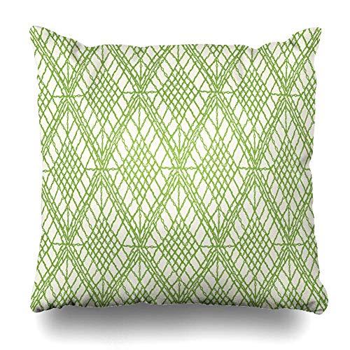 Funda de Almohada pañuelo Patrones Bohemios Crochet Mesh Boho Brocade Alfombra de Lona Diseño de Chevron Funda de cojín Decorativa Cuadrada Decoración para el hogar Funda de Almohada 18x18 Pulgadas