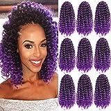 Marlybob Synthetic Crochet Braiding Hair curly Crochet Hair Braids Kinky Curl Hair Bundles for Black Women 9 Bundles/lot Ombre Marlybob Crochet Hair 8 Inch (1B/Purple#)