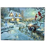 LED Canvas Art Print Wall Decoration - Village Cottages Along a Stream Christmas Scene with Cardinals and Snowman - Old Fashioned Cobblestone Bridge - 11.75 x15.75 Inch
