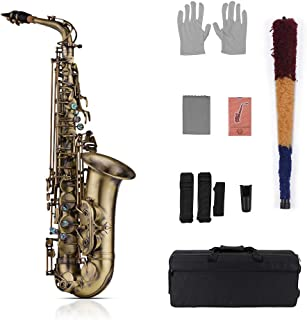 Muslady Eb Alto Saxophone Antique Finish Eb E-flat Sax Shell Key Carve Pattern with Padded Carry Case,Gloves,Cleaning Cloth,Brush,Sax Straps,Reeds
