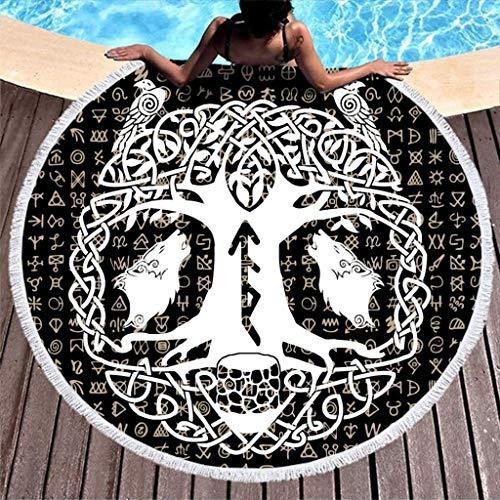 FZDB Yggdrasil in Bianco e Nero Lupo Raven Tattoo Odino Albero della Vita Lupo e Corvo Totem Norvegese Stampa mitologica Telo Mare Tondo Super Morbido con Nappe Spiaggia Tondo Vintage con Frange bian