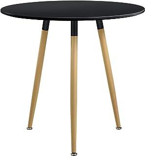 [en.casa] Table à Manger Table de Cuisine MDF-Feuille de Placage Mat et Laqué Rond Noir 80 x 75cm