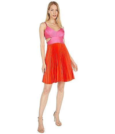 BCBGMAXAZRIA Color-Block Pleated Dress