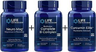 Life Extension Neuro-Mag Magnesium L-Threonate - 90 Vegetarian Caps, Life Extension Curcumin Elite Turmeric Extract, Life ...
