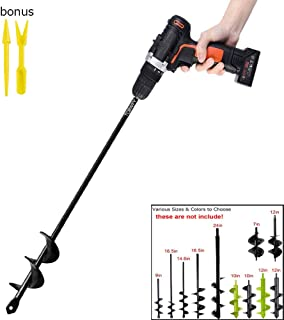 "Garden Auger Drill Bit 1.6x16.5inch Garden Auger Spiral Drill Bit Rapid Planter for 3/8"" Hex Drive Drill - for Tulips, Iris, Bedding Plants and Digging Weeds Roots"