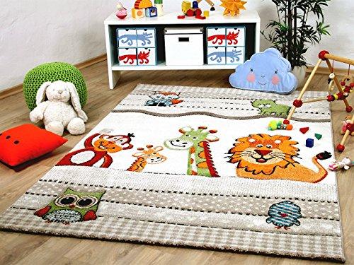 Savona Kinder und Spiel Teppich Kids Bunte Tierwelt Beige in 5 Größen