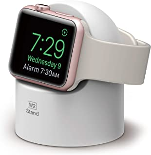 elago W2 Stand (White) for Apple Watch Series 5, Series 4, Series 3, Series 2, Series 1, 44mm, 42mm, 40mm, 38mm - Supports Nightstand Mode, Cable Management, Scratch-Free Silicone