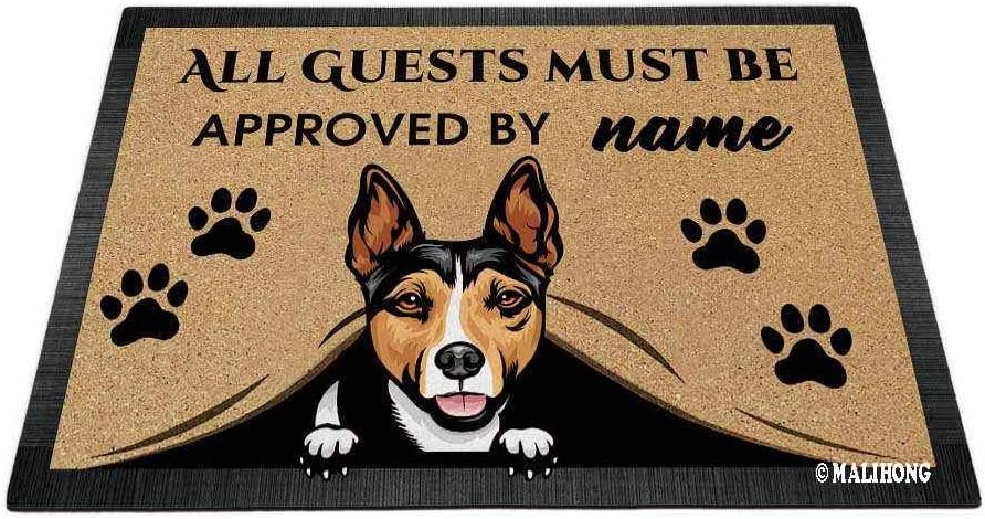 Personalized Peeking Dog Doormat with My Love Dog Rat Terrier All Guest Must Be Approved by Rugs for Home Decor 23.6 x 15.7 Inch