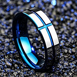 8MM Blue Jesus Cross Tungsten Carbide Ring Men`s Jewelry Wedding Band Size 6-13 (8)
