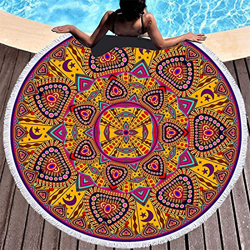 Toalla De Playa Redonda De Mandala con Estampado De Mariposas, Toalla De Microfibra, Esterilla De Playa Absorbente De Secado Rápido, Esterilla De Picnic 150 * 150cm