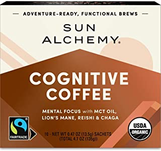 Sun Alchemy Cognitive Coffee, Mental Focus with Organic MCT Oil, Fair-Trade Coffee, Lion's Mane, Reishi & Chaga - 10 Sachets