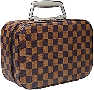 Exttlliy PU Travel Makeup Bag with Mirror for Women Makeup Case Fashion Handbags Cosmetic Case Box Organizer (Large Brown)