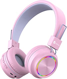 iClever BTH03 Kids Wireless Headphones, Colorful LED Lights Kids Headphones with MIC, 25H Playtime, Stereo Sound, Bluetoot...