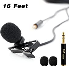 """PoP voice 196"""" Single Head Lavalier Lapel Microphone Omnidirectional Condenser Mic for Apple iPhone Android & Windows Smartphones, YouTube, Interview, Studio, Video Recording-Noise Cancelling Mic"""