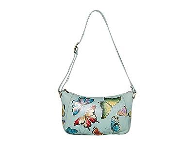 Anuschka Handbags Everyday Shoulder Hobo 670 (Butterfly Heaven) Handbags
