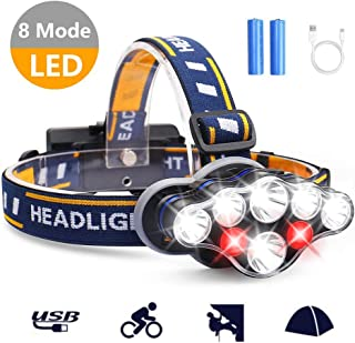 AUSPICE LED Headlamp, Rechargeable 8 LED 13000LM Super Bright Led Headlamp, Waterproof 8 Modes Change Headlight Perfect for Outdoor Hiking, Riding, Running, Fishing