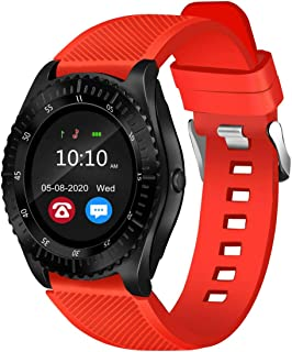 """Bouncefit Vector 4 Round Calling Smartwatch Red iOS/Android Compatible, IP67 Water Resistant, Red Silicone Strap, 1.3"""" OLE..."""