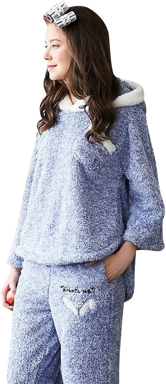 Mujap Women's Fashion Hooded Warm Flannel Sleepwear Ladies Pajama Sets