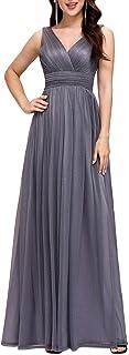 Ever-Pretty Vestiti da Sera Elegante Stile Impero Scollo a V Senza Maniche Plissettato Donna EZ07764