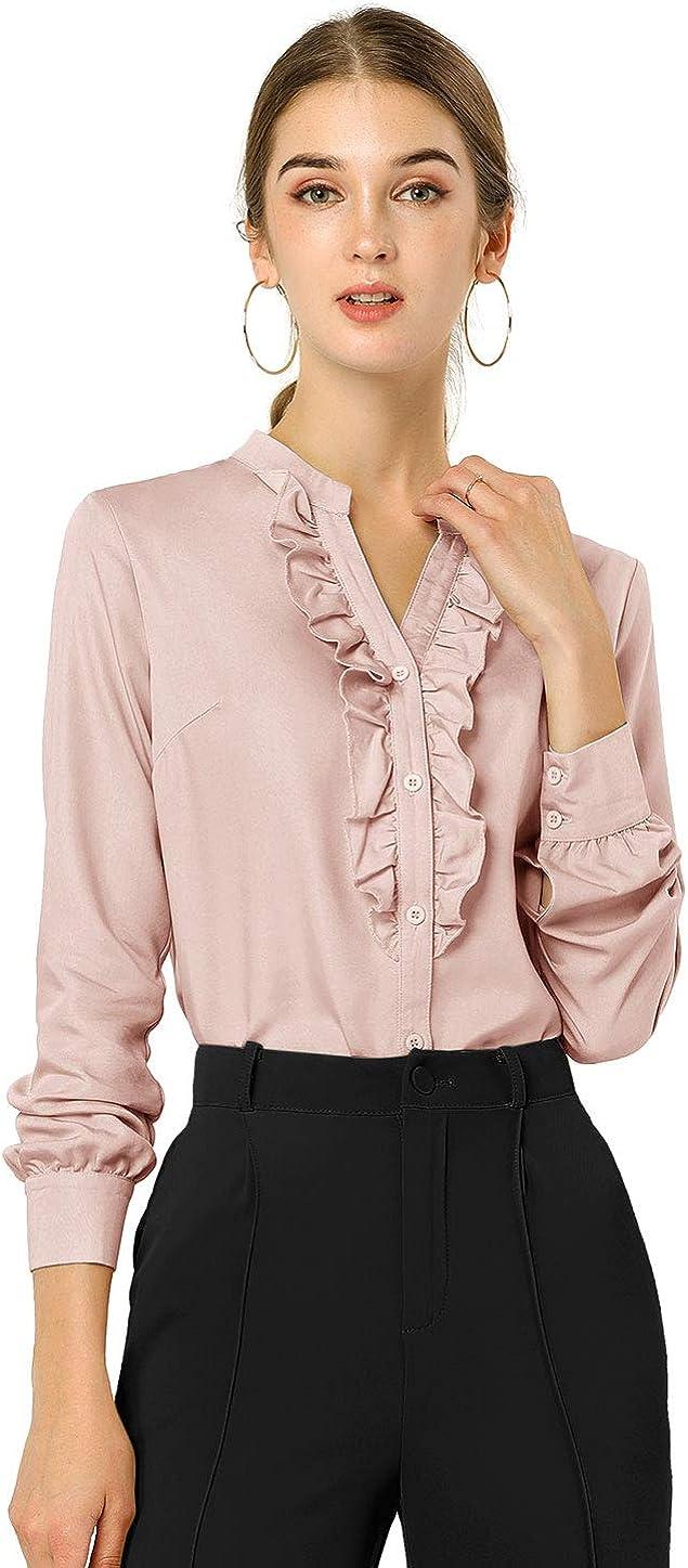 Allegra K Women's Office Ruffled Button Up Long Sleeves Top Chambray Blouse Shirt