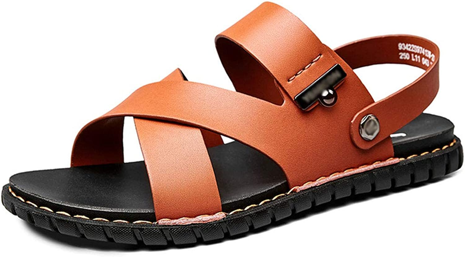 Men Beach Slippers Gladiator Breathable Outdoor Flats Slip-on Summer shoes Water Casual Slip-on Sandals,Brown,39