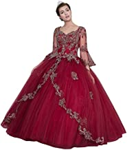 Calla Collection Womens Burgundy Bell Sleeves Quinceanera Ball Dress XS-3XL