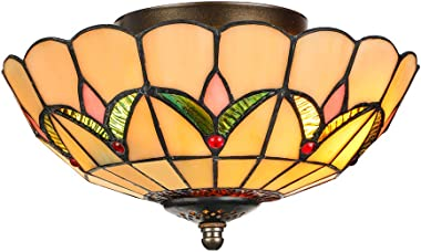 """LITFAD Tiffany Stained Glass Style Flush Mount Ceiling Light Fixture in Yellow 10"""" Wide 2 Lights Mission Inverted LED Ceiling"""
