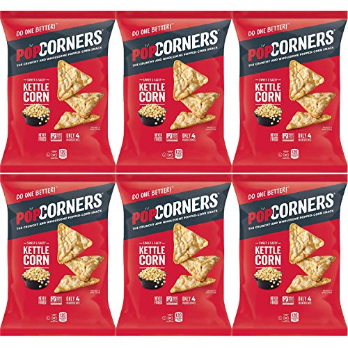 Popcorners Sweet & Salty Kettle Corn, Carnival Kettle Crispy and Crunchy Popped Corn Chips, Gluten-Free, 5oz Bag (Pack of 6, Total of 30 Oz)