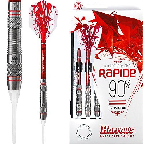 HARROWS Rapide Darts–Soft Spitze–Stil A gerändelt–18G–mit Darts Ecke gebogen Kugelschreiber