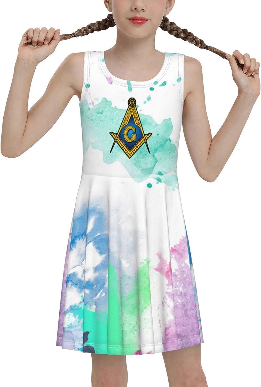 SDGhgHJG Masonic Lodge Sleeveless Dress for Girls Casual Printed Lightweight Skirt
