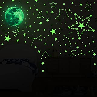 481 Pieces Glow in The Dark Stars, 3D Glowing Wall Stickers, Luminous Stars and Moon and DIY for Kids Bedroom, Wall, Light...