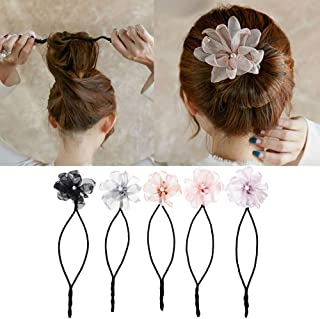 Magic Hair Bun Maker,5pcs Pearl Flower Donuts Maker Twist Headband Bud Headwear DIY Hairstyle Tool For Ballet, Wedding, Yoga, Dancing, Party