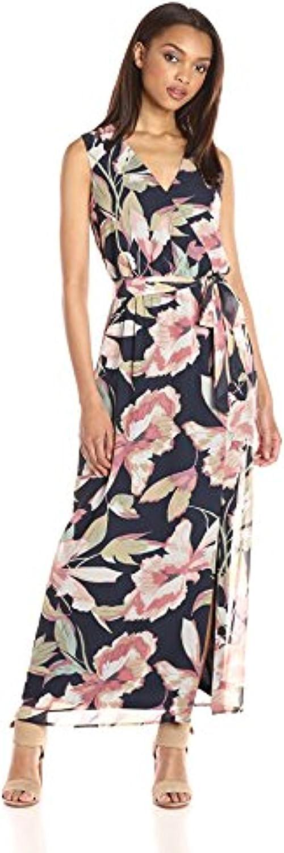 NINE WEST Women's Bali Vines Printed Surplus Wrap Dress