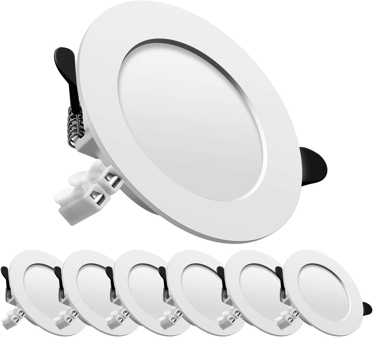 Downlight led empotrable redondo,Iluminacion 7W (700 lm),2700K (Luz Cálida), Blanco,foco empotrable LED,Ojos de buey de led 6 pack