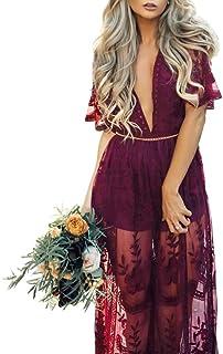 Women's Deep V-Neck Lace Romper Short Sleeve Long Dress