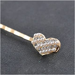 Osize 美しいスタイル 合金ダイヤモンドヘアピンラブシェイプワンワードヘアクリップヘアデコレーションクリップ(ハート)