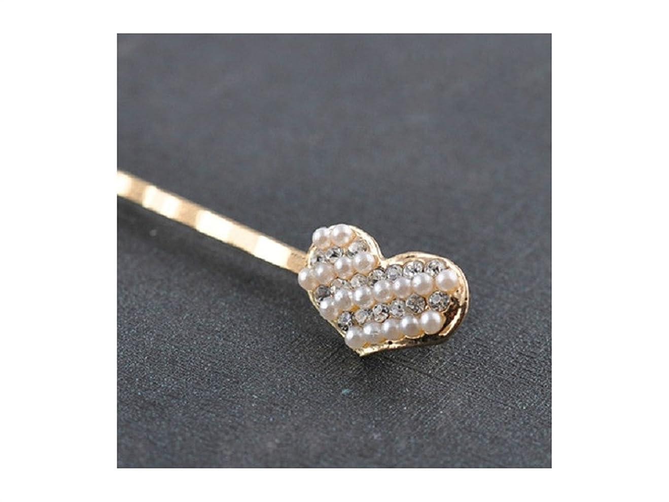 五細胞慣れるOsize 美しいスタイル 合金ダイヤモンドヘアピンラブシェイプワンワードヘアクリップヘアデコレーションクリップ(ハート)