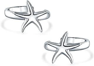 Minimalist Nautical Beach Starfish Cartilage Ear Cuffs Clip Wrap Helix Non Pierced Earrings For Women Sterling Silver