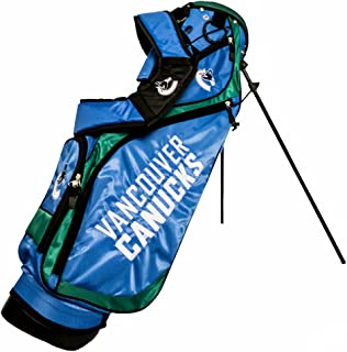 Team Golf NHL Anaheim Ducks Nassau Golf Stand Bag, Lightweight, 4-Way Top w/Integrated Handle, Spring Action Stand, 4 Zipper Pockets, Padded Strap, Umbrella Holder & Removable Rain Hood