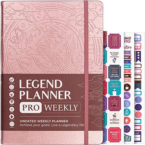 Legend Planer Pro – Deluxe-Wochen- und Monatsplaner zur Erhöhung der Produktivität und zum Erreichen Ihrer Ziele. Zeitmanagement-Notizbuch, undatiert Smaller than A4 (7'' x 10'') rose gold
